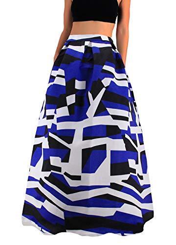 Novia's Choice Women African Floral Print Pleated High Waist Maxi Casual A-Line Skirt(Navy Blue Stripe L) A-line Elastic Waist Skirt