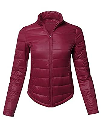 Made by Emma Casual Basic Solid Comfortable Light Weight Poly Fill Pad Jacket Burgundy S