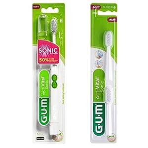 Brosse à dents à pile G.U.M ActiVital Sonic blanche avec 2 têtes de recharge
