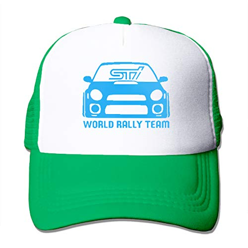 (TGASOIAHE STI WRX World Rally Team Trucker Hats High Air-Flow Cooling Mesh Design - Green Trucker Mesh Cap for Wemen and Men)