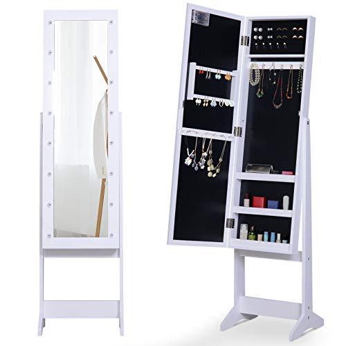 Floor Mirror Cabinet - HOMCOM LED Mirrored Jewelry Cabinet Armoire Floor Standing Organizer