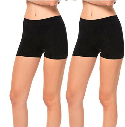 (Gilbins 2 Pack Women's Seamless Stretch Yoga Exercise Shorts Black)