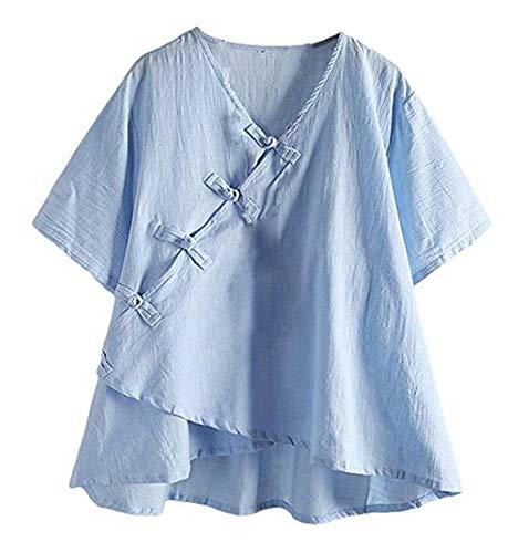 Hellomiko pour Chemises Bleu en Lin Femme Courtes Manches TrPqwZT4