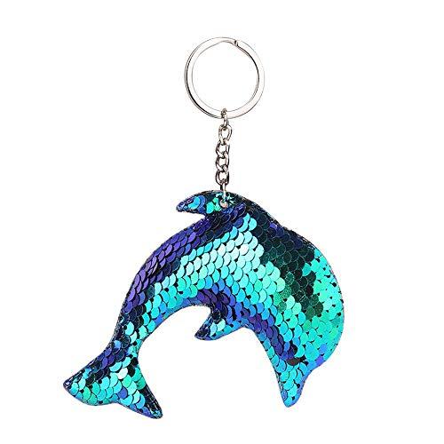 (Suppion Key Chain,Fashion Star Sequin Keychain Key Ring Dolphin Sequin Pendant Gift Keychain)