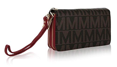 MKF Handbag Wallet Wristlet Vegan Leather Bag Double Zipper Multi Compartment Clutch Purse