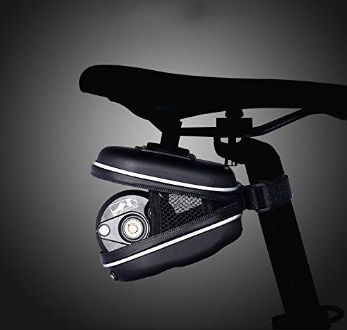 zanasta Satteltasche Fahrrad Mountainbike MTB Rennrad Wasserdicht, mit Werkzeug und 2 Reflektoren, Schwarz