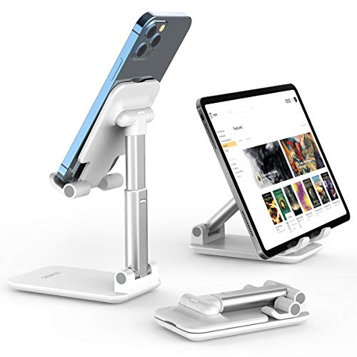 "Cell Phone Stand, Licheers Foldable Phone Holder, Angle Height Adjustable Phone Stand for Desk, Compatible with 4""-7"" Devices"
