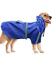 BLEVET Adjustable Waterproof Windproof Dog Hooded Raincoat Reflective for Hiking Walking Travelling Hunting AU-MZ058