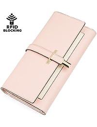 portafolios de piel Fashion Bifold Slim Clutch Wallet Titular De La Tarjeta para las mujeres