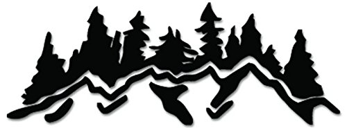 (Forest Mountain Trees Vinyl Decal Sticker For Vehicle Car Truck Window Bumper Wall Decor - [6 inch/15 cm Wide] - Gloss SILVER Color)