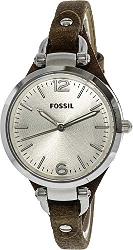 Fossil Women's Georgia Quartz Leather Casual Watch, Color: Silver, Brown, 8 (Model: ES3060) from Fossil