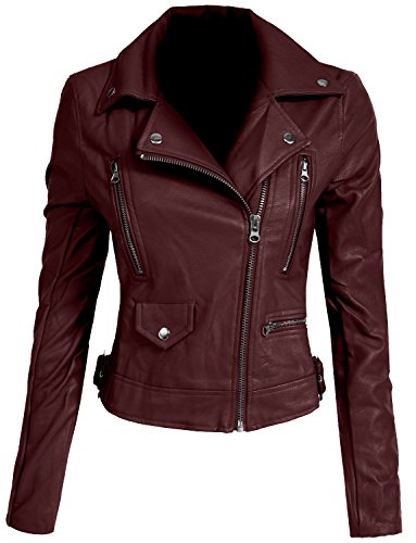 NE PEOPLE Women's Fitted Mixed Media Faux Leather Zip Up Moto Jacket With Hoodie (People Leather)