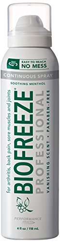 UPC 731124000286, Biofreeze Professional Pain Relief 360 Continuous Spray, 4 Ounce Bottle, Pack of 3, Colorless Formula, Pain Reliever, 10.5% Menthol