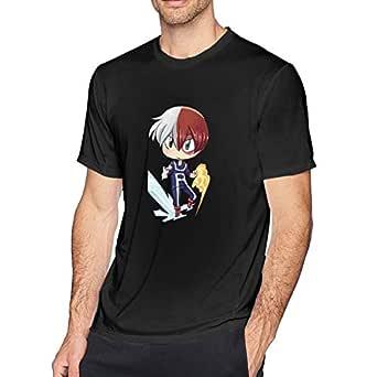 UXUEYING My Hero Academia Boku No Hero Todoroki Shoto T-Shirt Funny Short Sleeve for Men Black