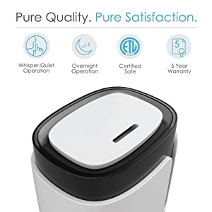 Hume Ultrasonic Cool Mist Humidifier with Easy-Clean 3.5-Liter Water Tank, Variable Mist Settings, Automatic Shut-Off, and Ultra-Quiet Operation for Baby Nursery, Bedrooms, and Office
