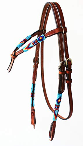 ProRider Horse Show Bridle Western Leather Headstall Beaded Knotted Browband Reins Combo 79RT01B ()