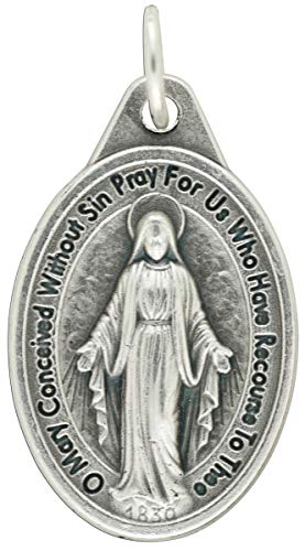 Gifts Catholic, Inc. Bulk Buy 25 Pcs - Miraculous Medal 1 inch Lot of 25 Medals with Rings - Mary Our Lady of Grace