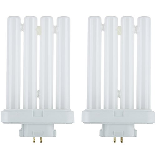 Sunlite FML27/30K/CD1/2PK Compact Fluorescent 27W Quad Tube Light Bulbs, 3000K Warm White Light, GX10Q-4 Base, 2 (Gx10q 4 Base)