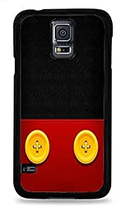 Trendy Accessories Yellow Buttons on Red Leather Design Print Black Silicone Case for Samsung Galaxy S5