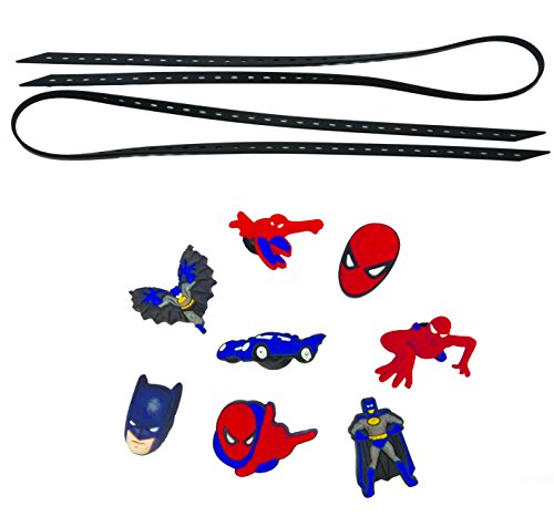 Mary Jane Costumes Spiderman (AVIRGO Universal Elastic Shoelaces with 8 pcs Buckles Adjustable Size Black Set # 17-10)