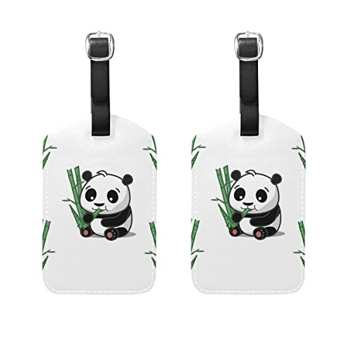 Personalized Sharpie Markers (LEISISI Cute Pandas Eat Bamboo Travel Luggage Tags Suitcase Luggage Bag Tags, Travel ID Bag Tag Airlines Baggage Labels 2PCS)