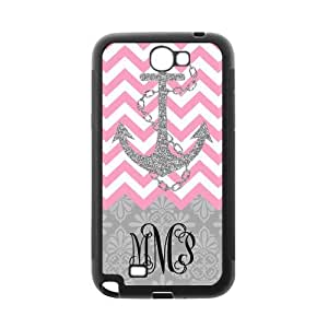 Hot Pink White Chevron & Gray Anchor & Gray Vintage European Pattern Black Initials Personalized Custom Samsung Galaxy Note 2 7100 Best Rubber & Plastic Case