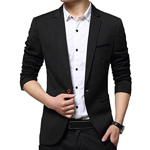 DAVID.ANN Men's Slim Fit Casual Blazer Jacket,Black,Large