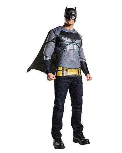 Batman Costumes Shirt (Rubie's Men's Batman v Superman: Dawn of Justice Batman Muscle Chest Top, Multi, One Size)