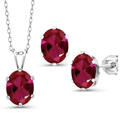 3.45 Ct Oval Red Created Ruby 925 Silver Pendant Earrings Set With Chain