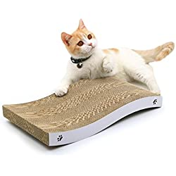 Coching Cat Scratcher Cardboard Curved Shape Scratch Pad with Unique Three Different Scratch Textures Design Durable Scratching Pad Reversible with Organic Catnip
