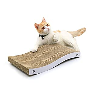 Coching Cat Scratcher Cardboard Curved Shape Scratch Pad with Unique Two Different Scratch Textures Design Durable Scratching Pad Reversible with Organic Catnip 62