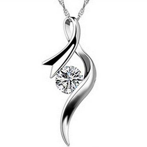 Latigerf Women's Jumping Music Note Pendant Necklace Sterling Silver Austrian Crystal