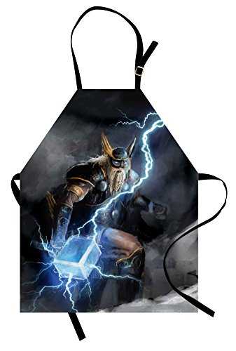 Thor Original Costume (Lunarable Viking Apron, Thor with Mjolnir Climbing on a Mountain Bringer of The Thunderstorm Artwork Print, Unisex Kitchen Bib with Adjustable Neck for Cooking Gardening, Adult Size, Grey)