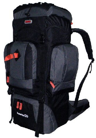 CUSCUS 120L Internal Frame Hiking Camp Backpack Travel Bag Gray Black, Outdoor Stuffs