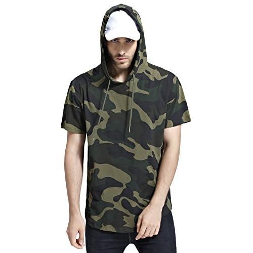 0fdd0115269 Bertte Mens Hipster Hip Hop Longline Curved Hem Short Sleeve Hoodie ...