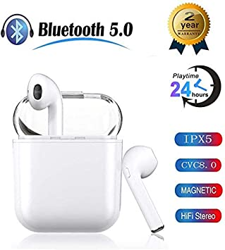 Wireless Earbuds Bluetooth Headphones with Charging Box Bluetooth Headset in-Ear Noise Canceling HiFi Stereo 24H Playtime IPX5 Waterproof for iPhone Apple Airpods Android Sport Headset