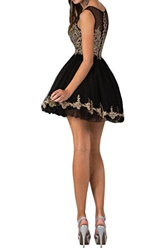 Modern Partykleid Abendkleid Schwarz Rundkragen Applikation Damen Festkleid Mini Spitze Ivydressing Promkleid 5pAqn