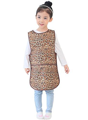 Plie Little Kids' Waterproof Sleeveless Art Smock Apron Medium Brown Leopard