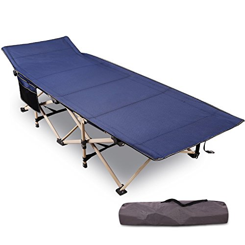 REDCAMP Folding Camping Cot for Adults,Heavy Duty Portable Sleeping Cot Bed with Storage Bag, Blue