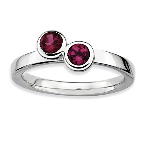 925 Sterling Silver Dbl Round Rhodolite Red Garnet Band Ring Size 8.00 Stone Stackable Gemstone Birthstone June Fine Jewelry For Women Gift Set from ICE CARATS