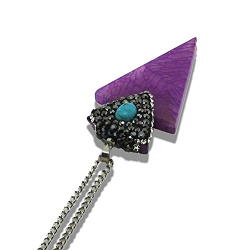 Natural Turquoise Stone Purple Agate Triangle Pendant Necklace Silver Palted Long Chain for Women Jewelry
