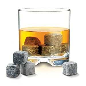 Lily's Home Sipping Stones, Set of 9 Whiskey Chilling Rocks with Carrying Pouch - Made of Pure Soapstone