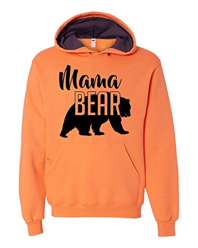 Custom Apparel House Mama Bear Hoodie Mom Women Soft Hoodie Adult Unisex,Medium, Orange