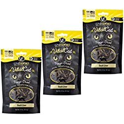 Vital Essentials Vital Cat Freeze-Dried Duck Liver Grain Free Limited Ingredient Cat Treats - 3 Pack.9 Ounce Each Bag