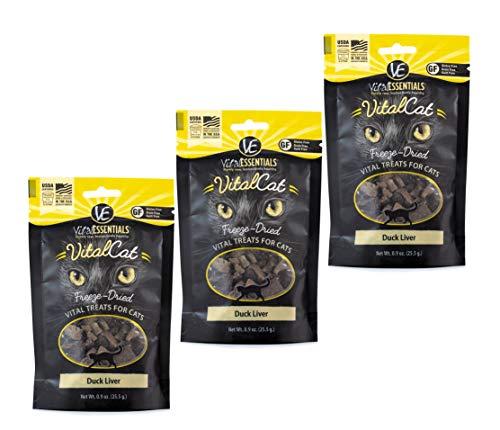 Vital Essentials Vital Cat Freeze-Dried Duck Liver Grain Free Limited Ingredient Cat Treats - 3 Pack.9 Ounce Each - Liver Catnip Treat