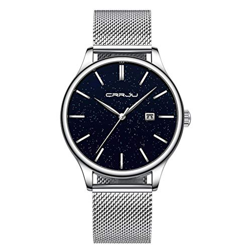 LUCAMORE Men's Luxurious Starry Sky Quartz Analog Watches Waterproof Date Display Mesh Stainless Steel Band Wrist Watch