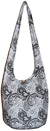 Hobo Paisley White Bohemian Purse Shoulder Sling Hippie Crossbody Gypsy Bag PwHnO8B