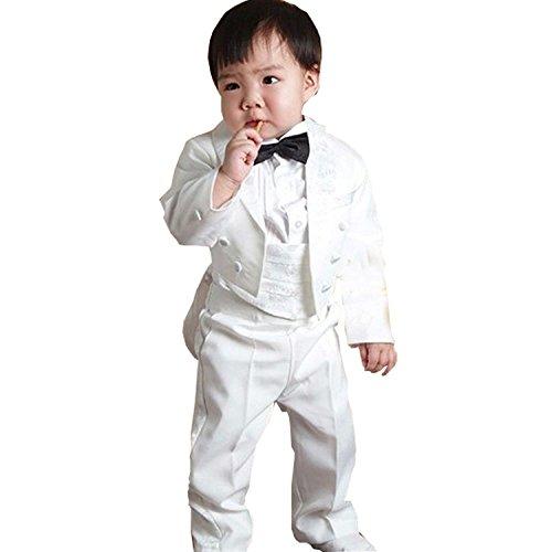 gsch Boys' 5 Pcs Set Formal Classic Tuxedo Suit with Tail Black Jacket Shirt Vest Pants and Bowtie (2T, White) -