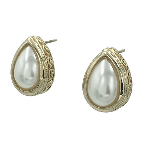 (Simple Imitation Pearl Teardrop Formal Bridal Prom Pageant Post Earrings (Gold Tone))