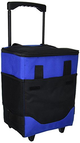 Willow Cooler Wine Basket - Picnic at Ascot Insulated 6 Bottle Wine Carrier On Wheels, Royal Blue
